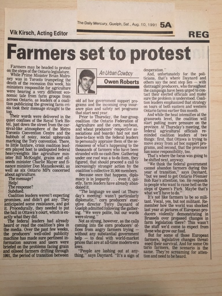 One of my early Urban Cowboy columns, from August 1991.